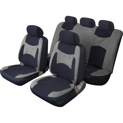 Escape - Standard Full Set - Black/Grey - Velour Car Seat Covers