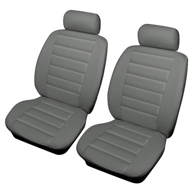 Leatherlook Front Pair Grey Car Seat Covers