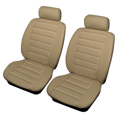 Leatherlook Front Pair Beige Car Seat Cover