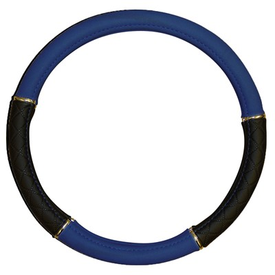 Addiction Steering Wheel Cover Black/Blue Leatherlook